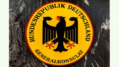 Wappen der Bundesrepublik Deutschland im deutschen Konsulat in Barcelona.