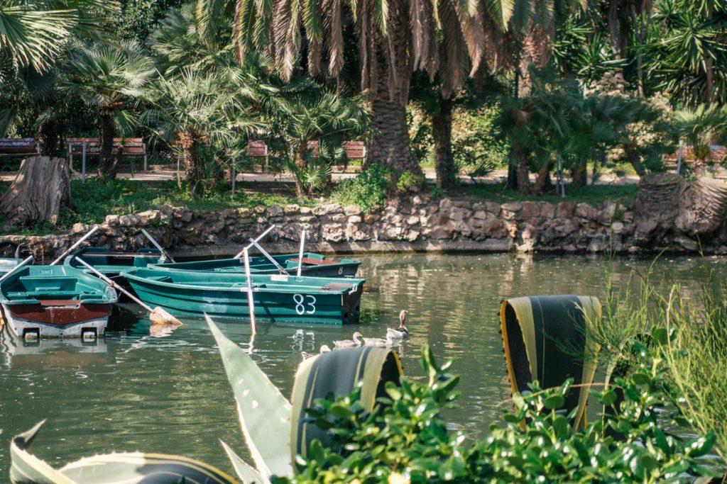 Boote und eine Entenfamilie auf dem See im Park.