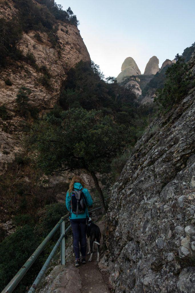 Eine Frau mit Hund auf dem Weg zum Gipfel des Sant Jeroni.